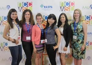"Gabby Gonzalez, Giulia Balzola, Takhmina Dzuraeva, Asami Bandai, Leslie Mayo and Teresa McClane-Jaswal on the ""red carpet"" at the conference."