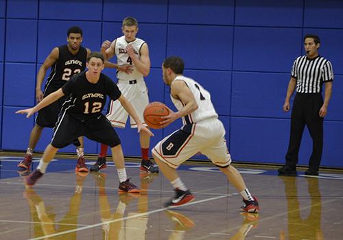 men's team on basketball court