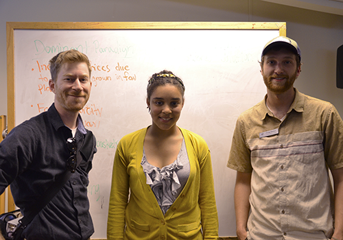 Sustainability Director Patrick Green (left), student guest speaker Sarra Tekola (middle) and Transportation Coordinator Craig Hauser (right).