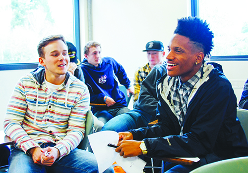 Cleveland High School students participate in Eric Davis' sociology course.