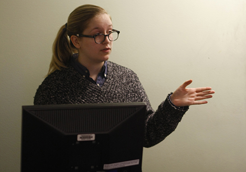 Host Amy Robles speaks at an interactive lecture hosted by the LGBTQ Resource Center.