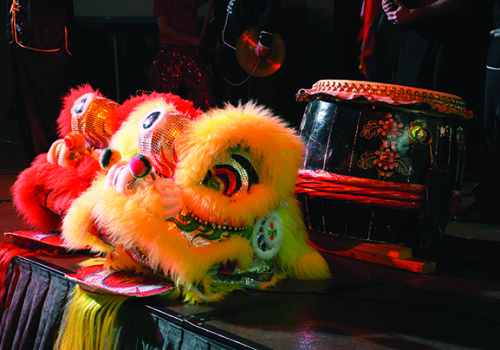 Traditional Chinese lion dance costumes.