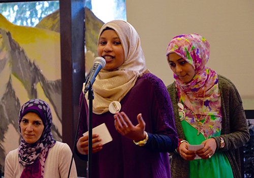 Muslim Student Association President Owla Mohamed welcomes students to the discussion.