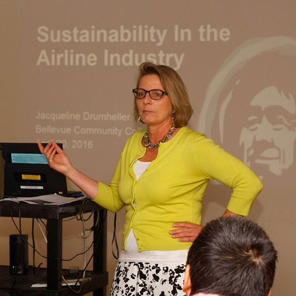 Jacqueline Drumheller lectures at BC.