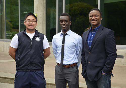 Left to right, VP of Pluralism and Student Affairs Abner Pagunuran, President Sam Akeyo and VP of Finance Amara Jambai.