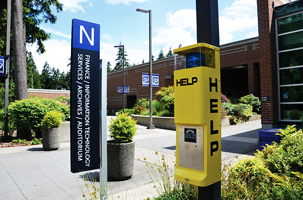 Public Safety call box located outside the N building.