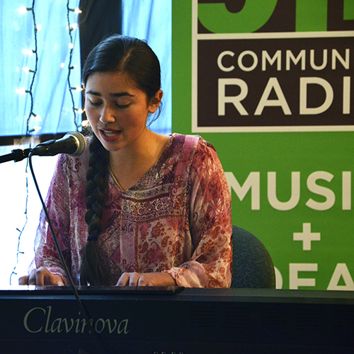 Rebecca Andei performing an original piece.