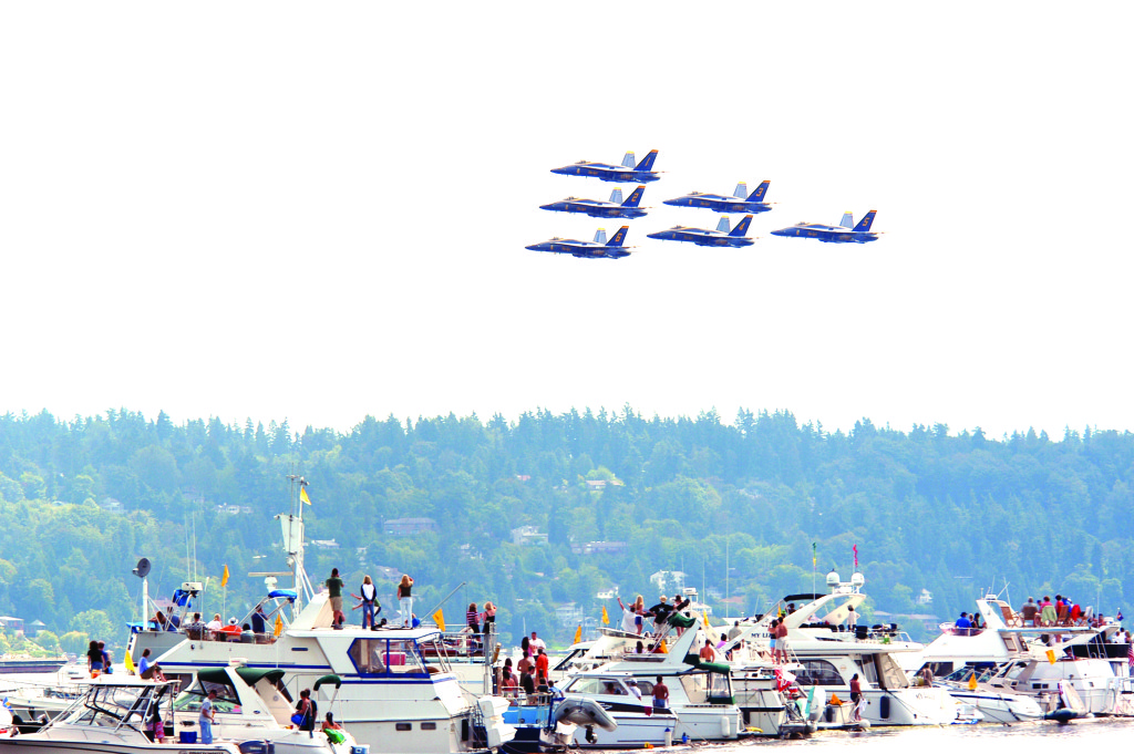 Blue Angels flying during Seattle Seafair, 2004.