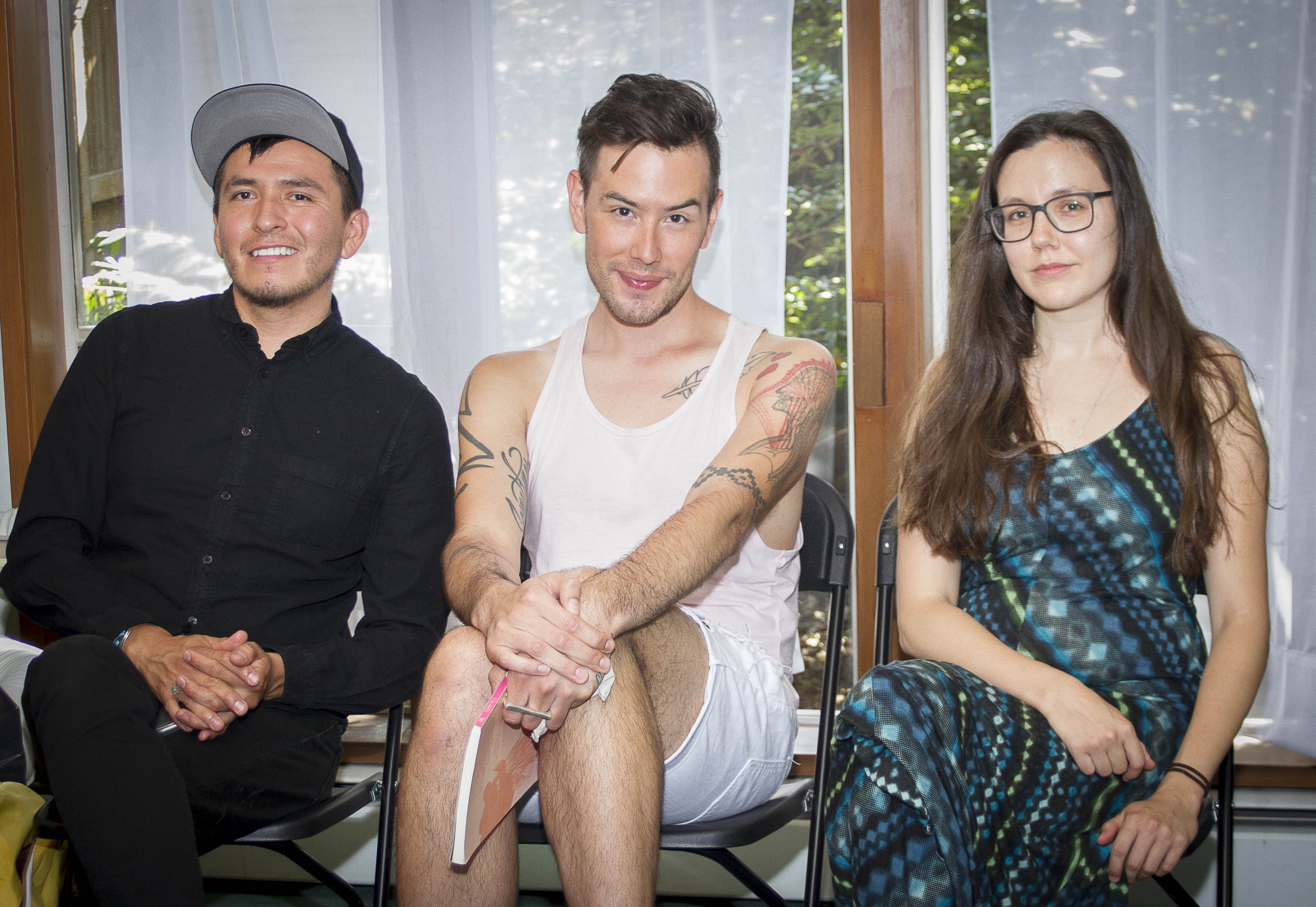portrait of writers Demian DineYazhi, Tommy Pico and Elissa Washuta.