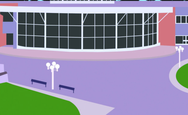 illustration of campus courtyard