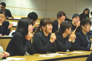 Japanese nursing students waiting for raffle prizes. Alyssa Brown / The Watchdog