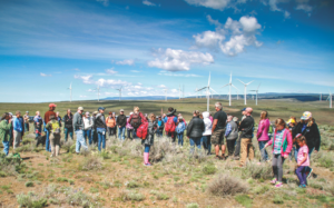 A group takes a tour of the Wild Horse Wind Facility. Photo Courtesy of Puget Sound Energy