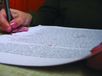 Student working on essay