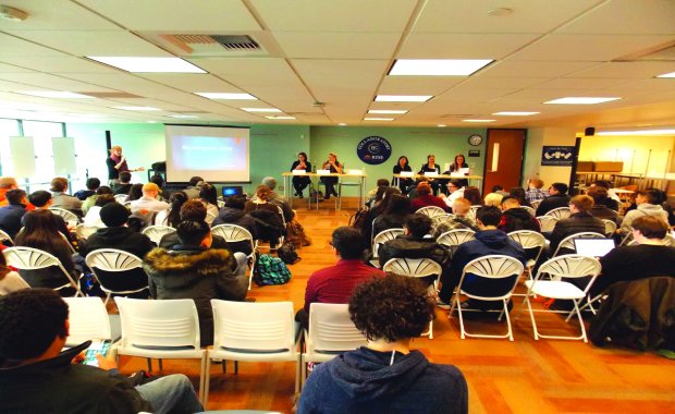 Students and faculty at the panel.