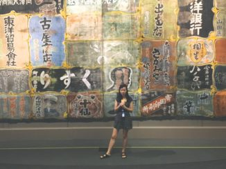 The tour guide expains the advertisements behind her.