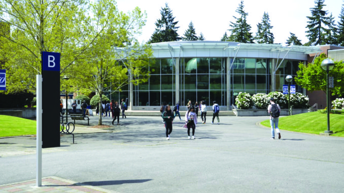 Students walking to and from class.