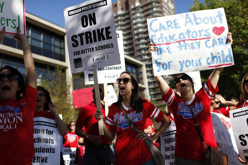 Teachers go on strike